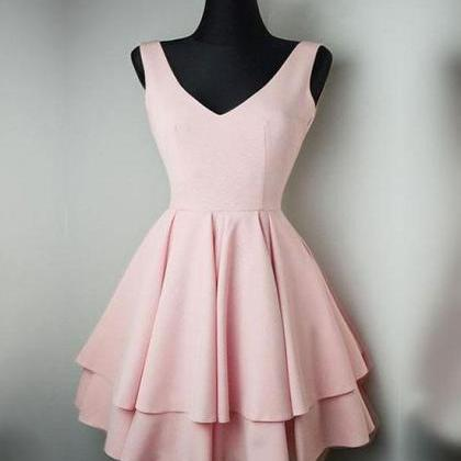 Cute Pink V-Neck Homecoming Dress,S..