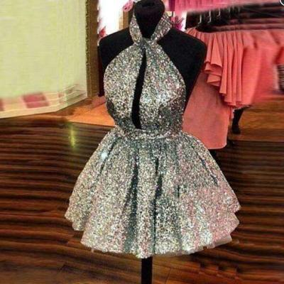 Shiny Silver Sequins Prom Dress,Short Mini Cocktail Dresses,A Line Backless Sexy Homecoming dresses
