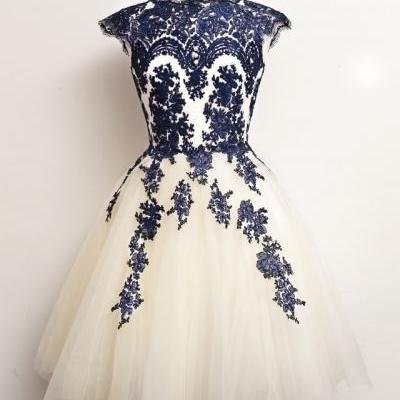 High Neck Cap Sleeves Royal Blue Lace Tulle Short Prom Dresses, Homecoming Dress,Cocktail Dress,Wedding Party Dress