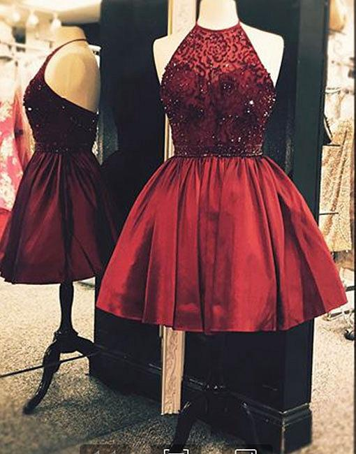 c9b0d3f1fdb Cute Burgundy Bedaed Short Prom Dress
