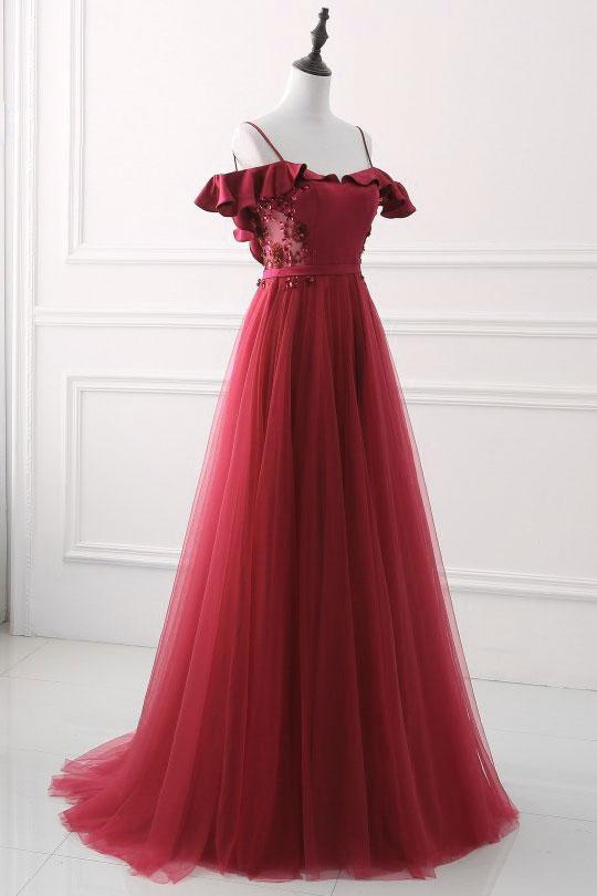 Elagant Burgundy Off The Shoulder Sequined Beaded Long Prom Dress,Burgundy Tulle Evening Dress
