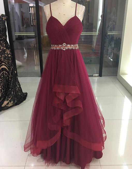 Sexy Burgundy V-Neck Tulle Prom Dress,Spaghetti Straps Burgundy Evening Dress