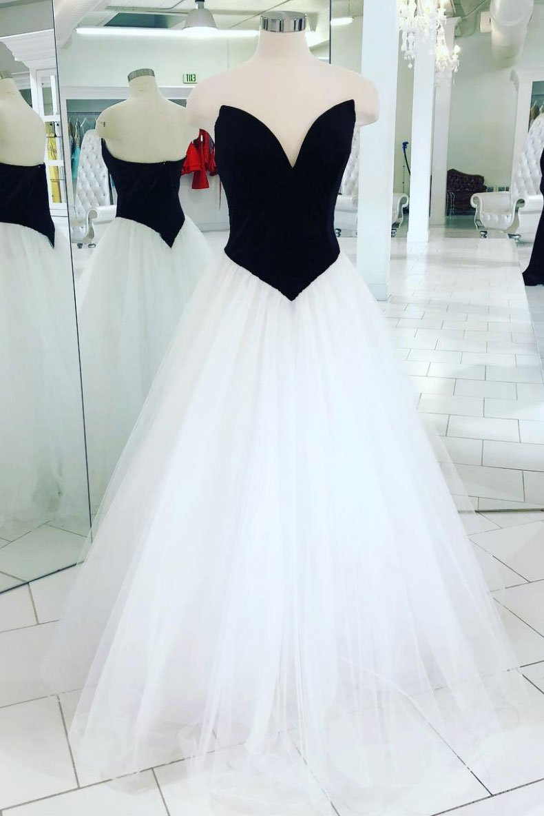 Strapless white and black classic prom dress,tulle evening dress