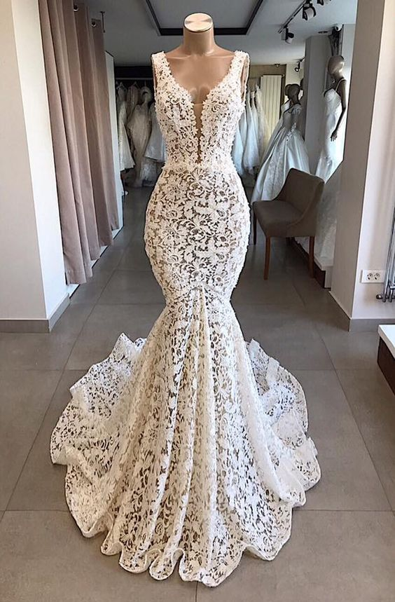 Mermaid Lace V Neck Long Prom Dresses Wedding Dresses Ivory Chic Bridal Gowns