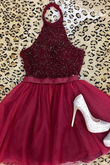 Burgundy Tulle Halter Backless Beaded Homecoming Dress,Cute A Line Short Prom Dress,Mini Dress for Teens