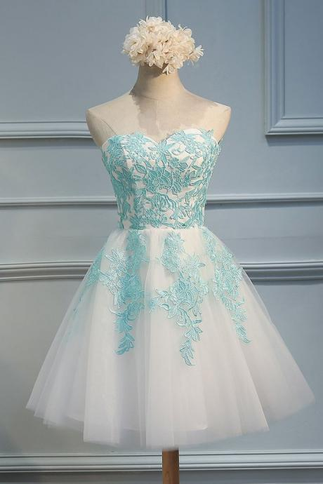 Sweetheart green lace applique tulle short prom dress,cute homecoming dress