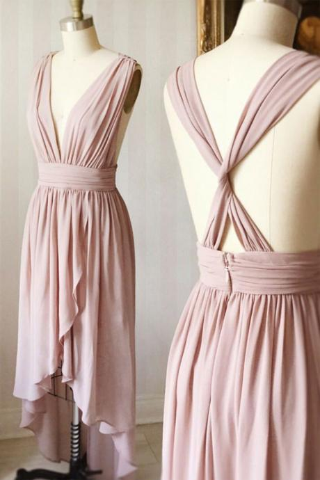 Simple Pink V Neck Homecoming Dress,Chiffon Short Prom Dress,Sleeveless Bridesmaid Dress with Corss Back