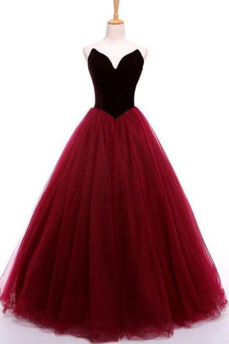 Burgundy sweetheart neck long prom gown,burgundy evening dress,2018 formal dress