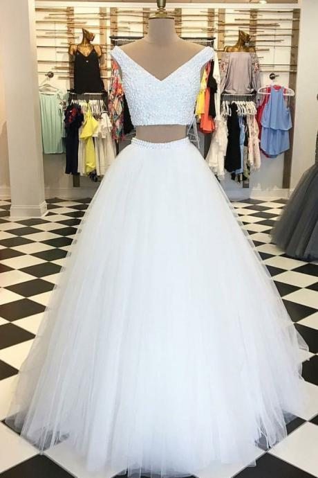 Charming White V-Neck Two-Piece Prom Dress,Tulle Long Prom Dresse,Sexy Beading Prom Gowns