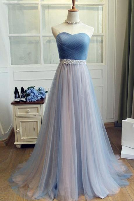 Sweetheart Tulle Blue Long Prom Dress,Beaded Waist Bridesmaid Dress