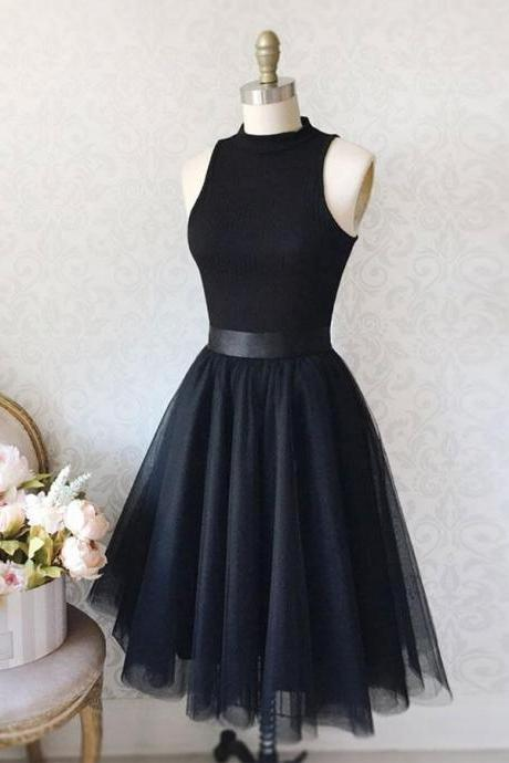 Cute Black Tulle High Neck Sleeveless Homecoming Dress,Simple Short Prom Dress