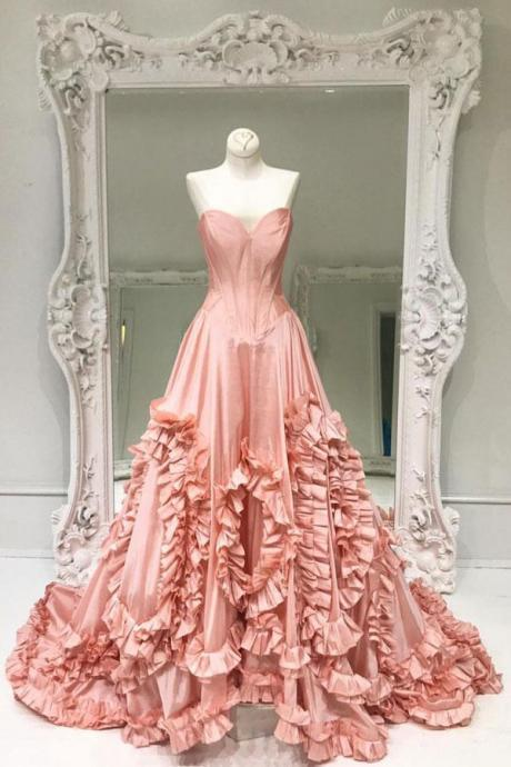Unique Sweetheart Pink Satin Prom Dress,Pink Evening Dress,2018 Prom Dress with Sweep Train