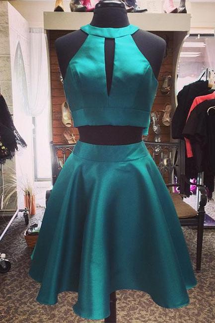 Cute Two-Piece Green Homecoming Dress,Halter Short Prom Dress with Keyhole