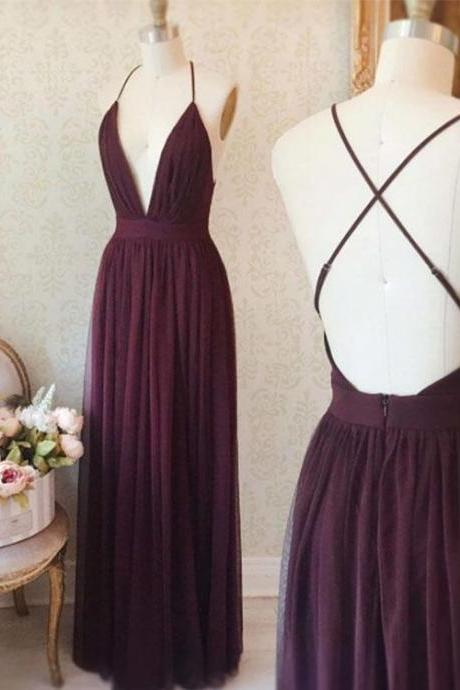 Simple Deep V-Neck Purple Prom Dress,Long Backless Evening Dress