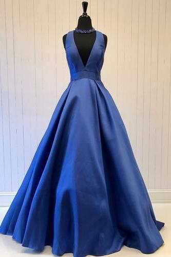 Simple Blue Deep V-Neck Satin Prom Dress,Sleeveless Evening Dress with Bow