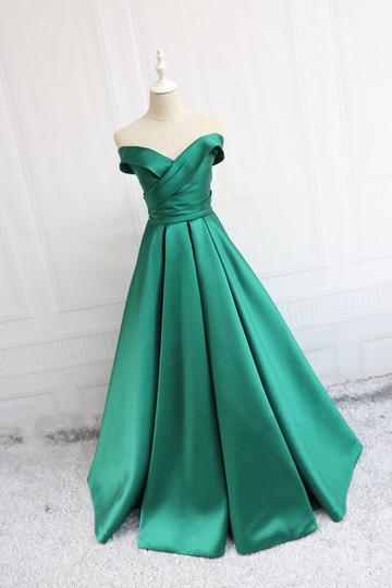 Charming Off The Shoulder Green Satin Prom Dress,Green Evening Dress,Women Ball Gowns