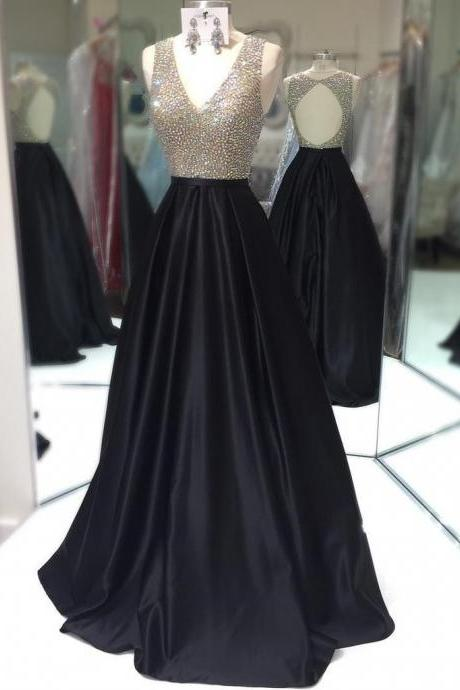2018 Beaded V-Neck Satin Prom Dress,Long Black Evening Dress,Sleeveless A Line Formal Gown With Keyhole Back