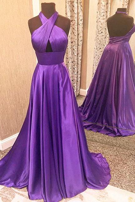 Simple Halter Purple Long Satin Prom Dress,Backless Evening Dress