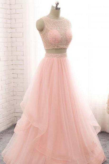 Charming Pink Two Piece Beaded Sequins Prom Dress,Scoop Neck Sleeveless Floor Length Prom Dresses,2018 Homecoming Dresses