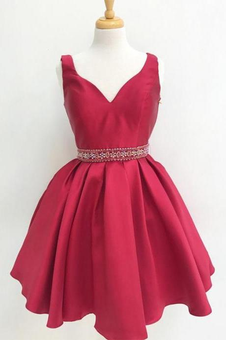 Cute Straps V-Neck Satin Homecoming Dress,Beaded Short Prom Dress