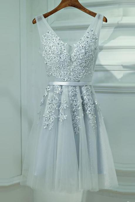 Gray V-Neck Applique Party Dress,A-line Bridesmaid Dress with Sash