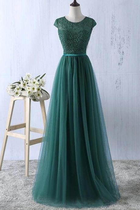 Elegant Green Lace Tulle Prom Dress,Long A-Line Cap Sleeve Evening Formal Dress