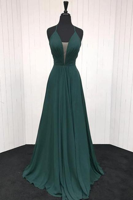 Simple Dark Green V-Neck Chiffon Prom Dress,A-Line Green Evening Dress