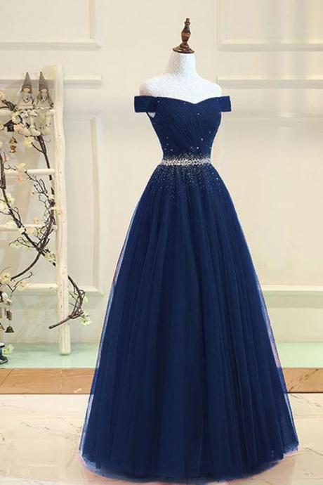 Navy Blue Tulle Off the Shoulder Long Prom Dress,Beaded Sequins Evening Dresses,A-line Bridesmaid Dress