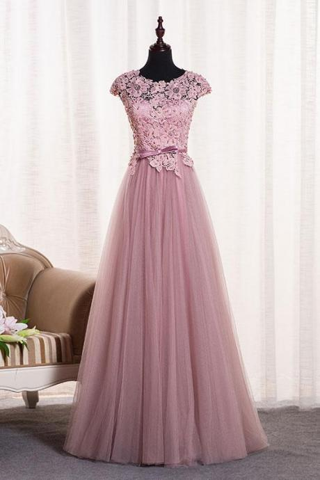 Blush Round Neck Cap Sleeve Applique Long Prom Dress,Tulle Evening Dresses,2018 Bridesmaid Dress