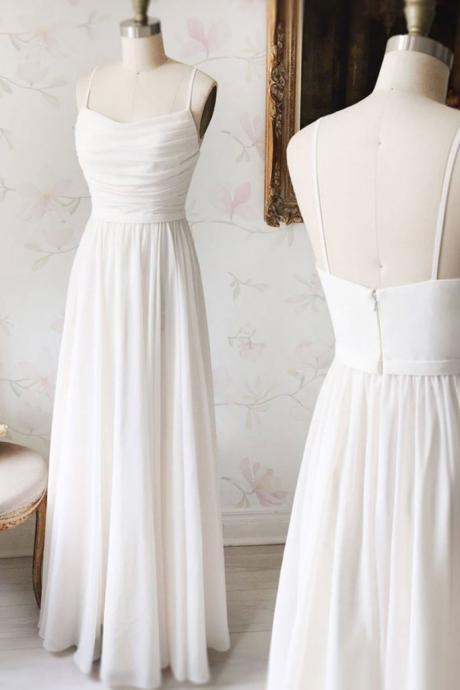 Simple White Long Chiffon Prom Dress,Spaghetti Straps Evening Dress