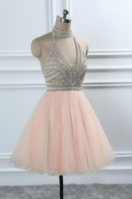 Coral Halter Backless Crystal Beading Tulle Homecoming Dresses Sweet 16