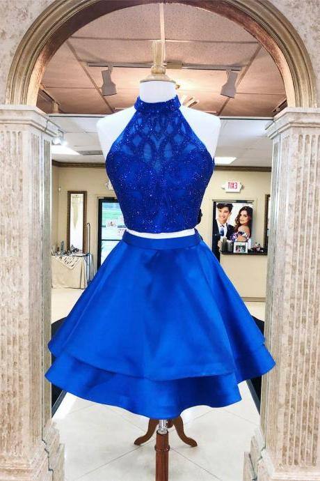 High Neck Royal Blue Beaded Homecoming Dress Two Pieces Party Dress Short Prom Dress