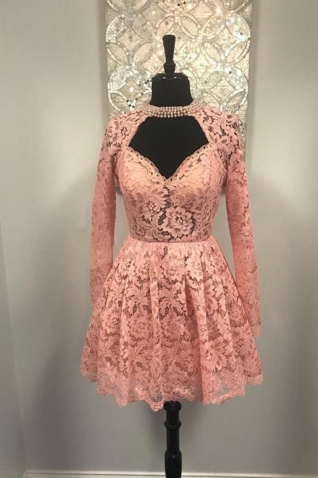Sweetheart Long Sleeves Pink Lace Short Homecoming Dress Short Lace Dress