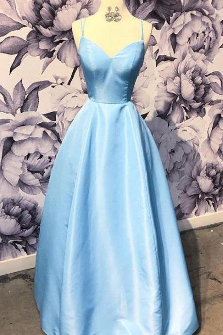 Simple light blue v-neck long prom dress,blue evening dress