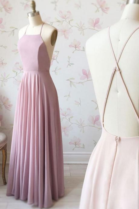 Simple Pink Halter Chiffon Prom Dress,Long Backless Maxi Dress,Evening Dress