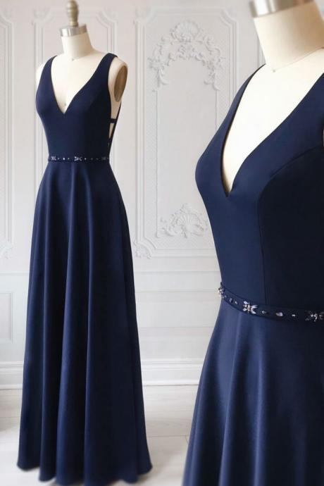 Elegant Navy Blue Chiffon V-Neck Prom Dress,A-Line Sleeveless Evening Dress with Beaded Waist