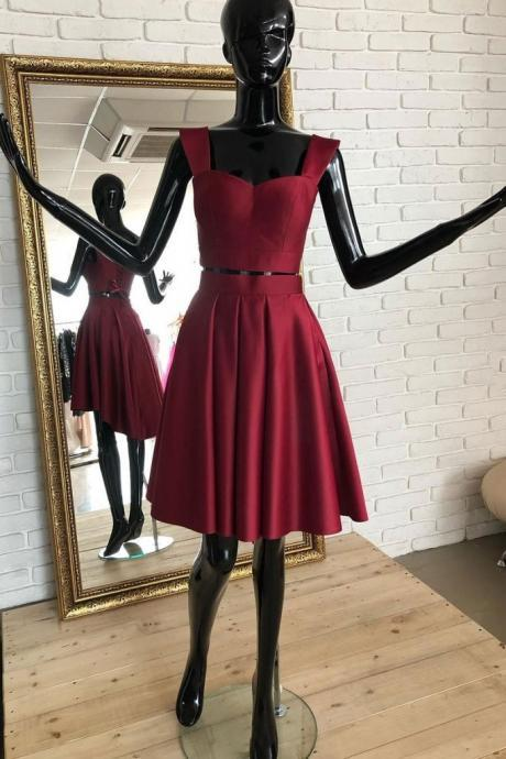 Burgundy Two Pieces Satin Short Prom Dress,Burgundy Lace up Homecoming Dress