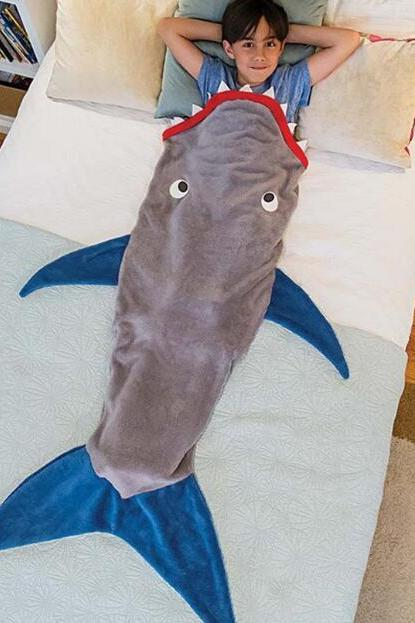 Grey Shark Shape Mermaid Blanket, Baby Blanket, Child Blanket, Gifts For Children