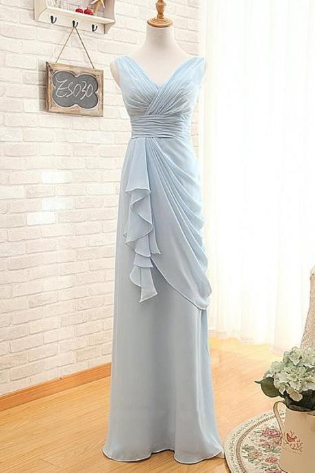 Light Blue Sleeveless V-Neck Chiffon Ruched Floor-Length Bridesmaid Dress, Prom Dress