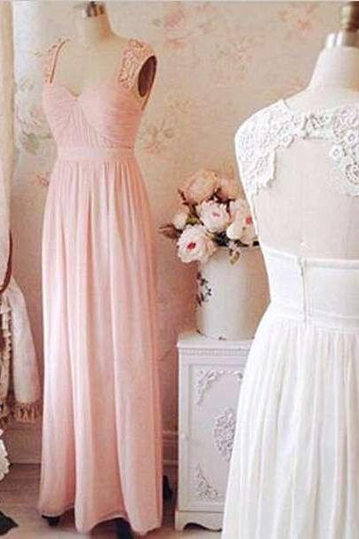 New Arrival Lace Long Chiffon Cap Sleeve Prom Dress,A line Bridesmaid Dress,Simple Prom Dress