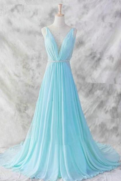 Charming Blue Chiffon Prom Dress,Floor Length V-neckline Prom Gown 2017,Baby Blue Evening Dresses,Blue Formal Dresses,Formal Dresses