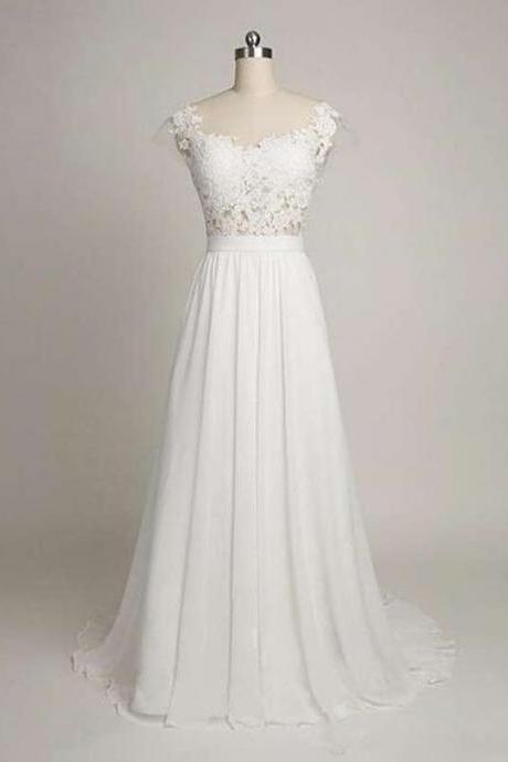 Simple White A-line Prom Dress,Cap Sleeves Long Party Dress,Chiffon Elegant Wedding Dress with Lace