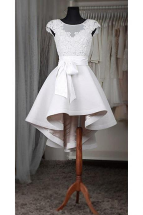 White A Line Lace Short Homecoming Dress For Teens,Classy Cap Sleeves Prom Dresses