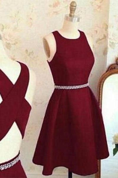 Burgundy Cute Short Prom Dresses,Sleeveless A Line Homecoming Dress,Back Criss-cross Prom Dress,Party Dresses