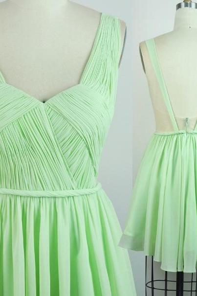 A-Line Mint Green Sweetheart Short Party Dress,Empire Chiffon Backless Homecoming Dress,Ruched Bridesmaid Dress,Simple Gradutaion Dress