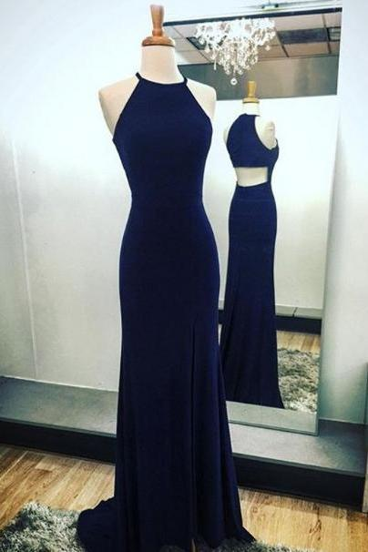 Elegant Halter Sheath Prom dress with Slit,Navy Blue Sweep Train Long Evening Gowns