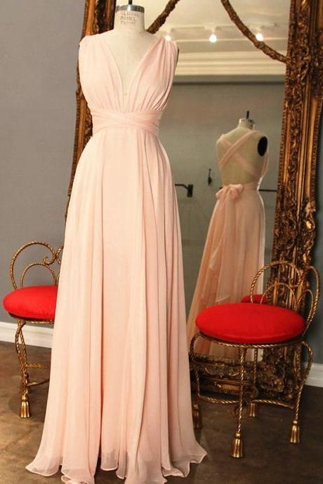 Simple Pink Prom Dress with Criss-Cross Back,Pleats Long Prom Dress