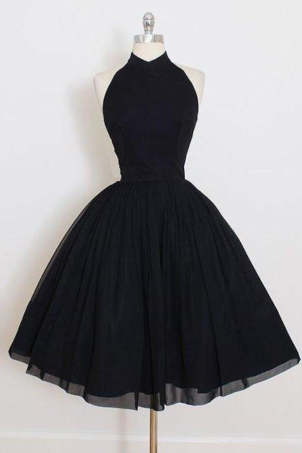 Cute Black Backless Short Prom Dress, A Line Halter Homecoming Dress