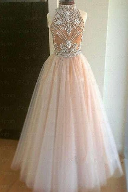 Sexy Two Piece High Neck Rhinestone Homecoming Dress,Pink Tulle Prom Dress