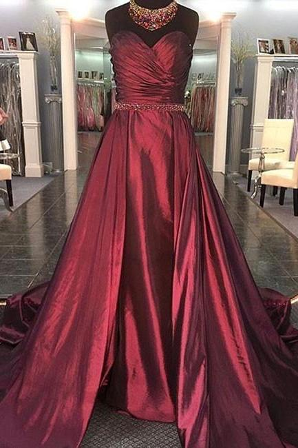 Sweetheart Burgundy Formal Dress,A Line Satin Evening Dress,Long Sweep Train Prom Dress with Beaded Waist